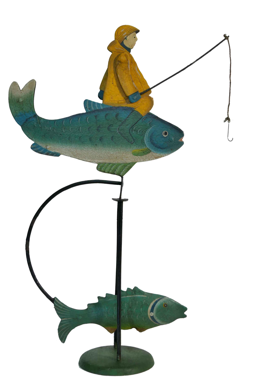 Balance Figur Der Angler auf dem Fisch