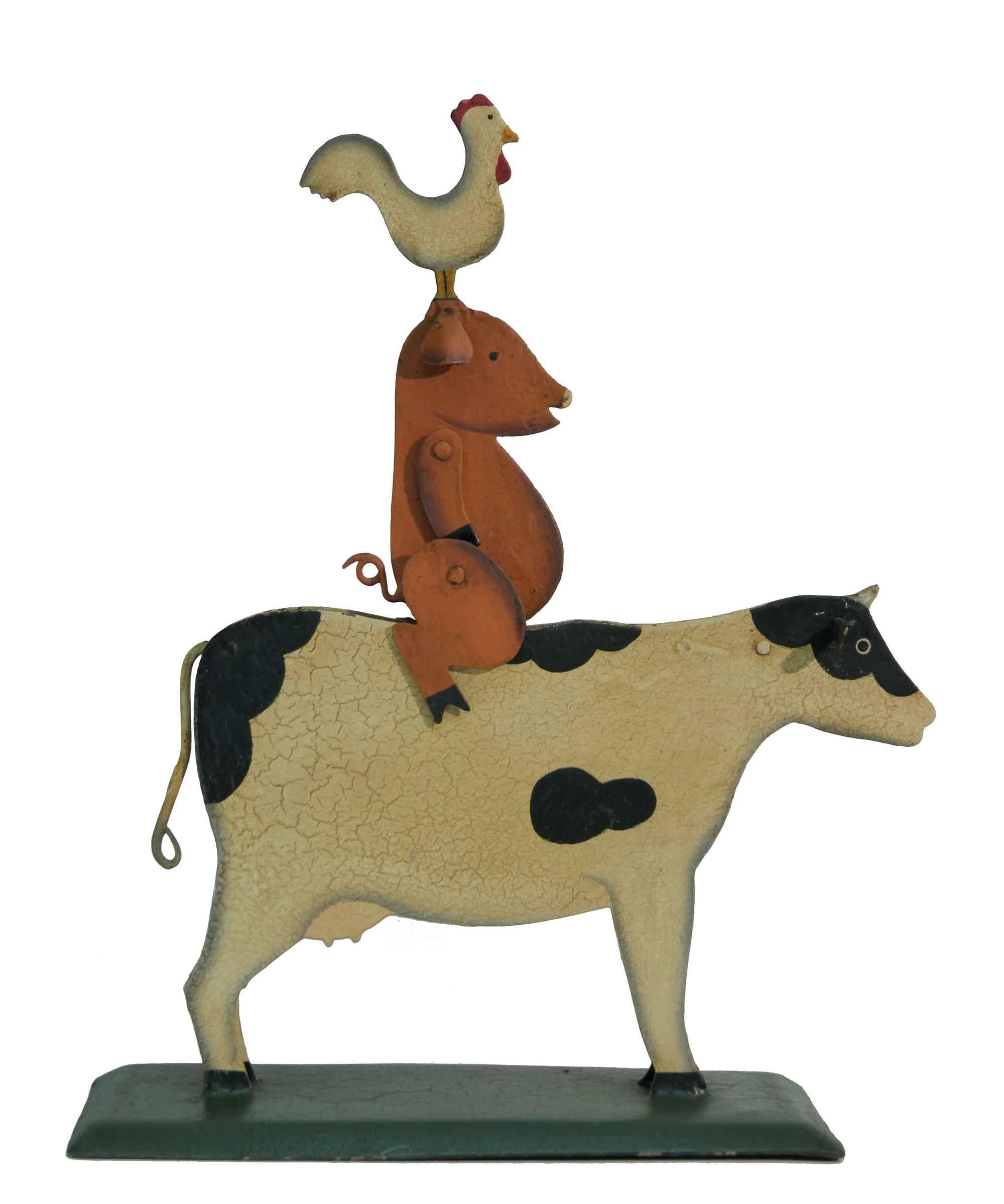 Pendelfigur Kuh mit Schwein und Hahn