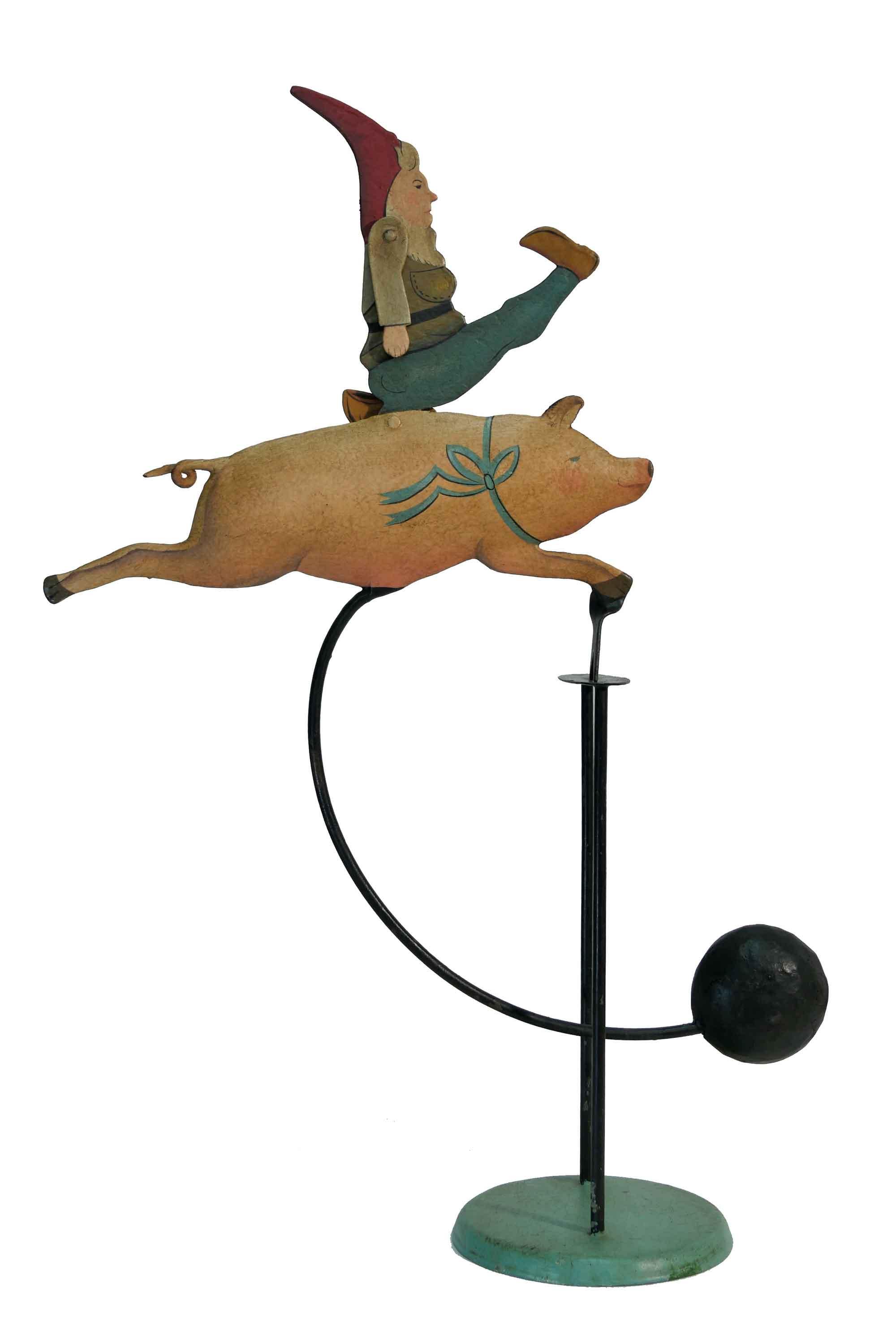 Balance Figur Zwerg auf Schwein
